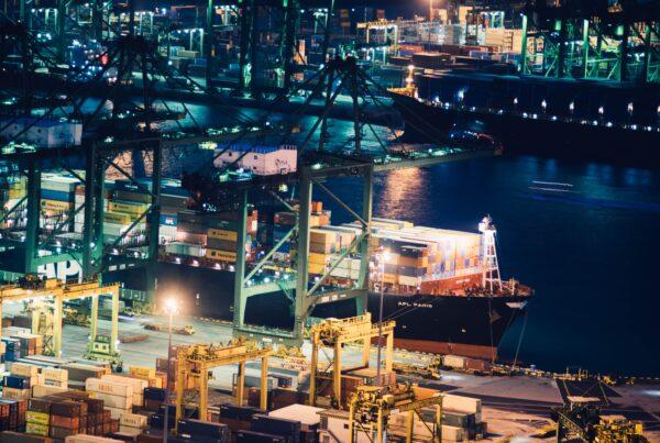Cargo at a port at night